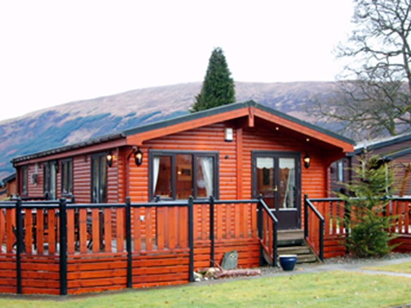 Self Catering Loch Lomond Lodges with views over the loch in Scotland